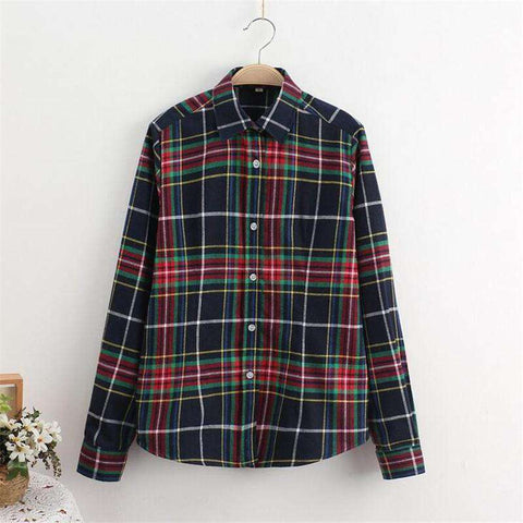 Cotton Plaid Women Shirts Long Sleeve Flannel