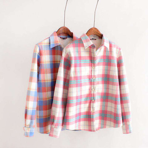 Long-Sleeve Plaid Shirt Women 100% Cotton