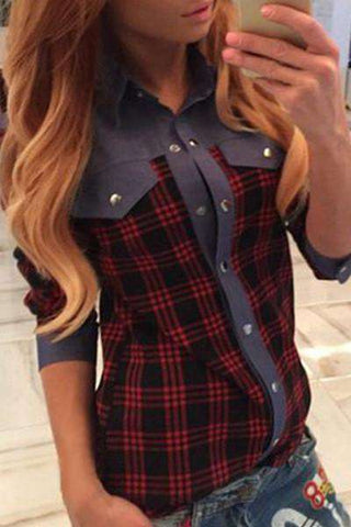 Plaid Flannel Long Cotton Casual Blouse
