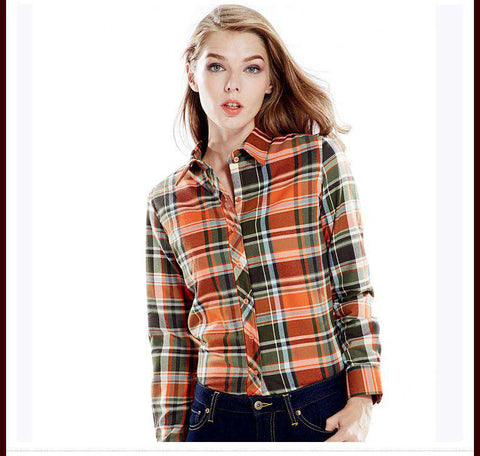 Long Sleeve Flannel Single Cotton Plaid Blouse