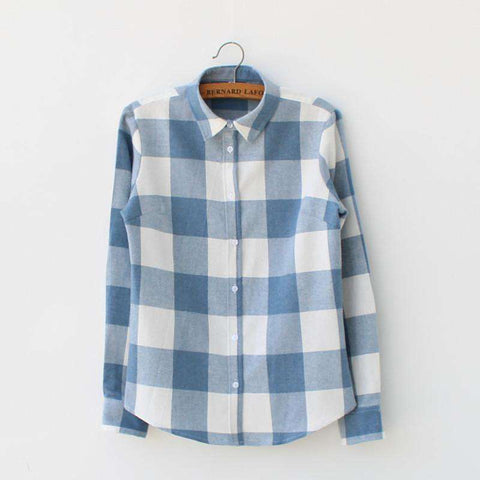 Cotton Sen Female Line Small Fresh Big Plaid Flannel Shirt