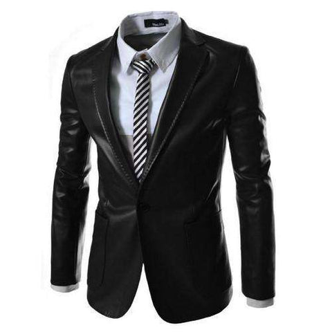 Casual Men PU Faux Leather suits and blazer