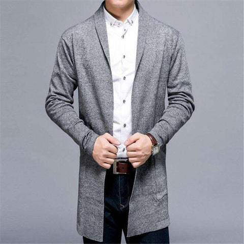 Cardigan Men Solid Cotton Knitted Sweater