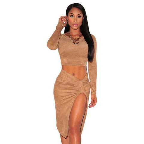 Long Sleeve Two Piece Knotted Back Slit Pencil Dress Brown Black