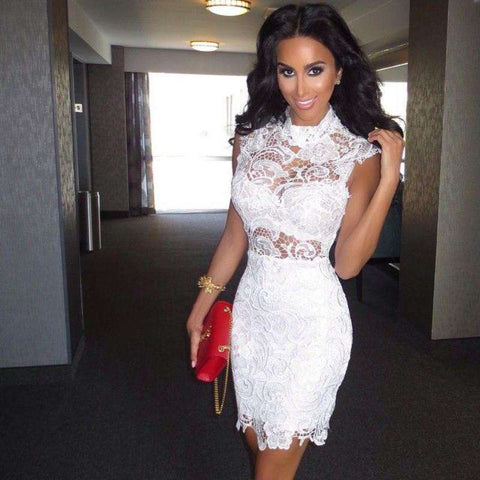 Sexy Mini Short White Lace Cocktail Dresses Party Dress White