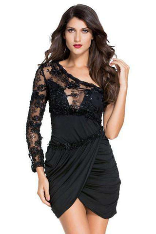 Little Black Lace Bodice One Sleeve Bodycon Dress