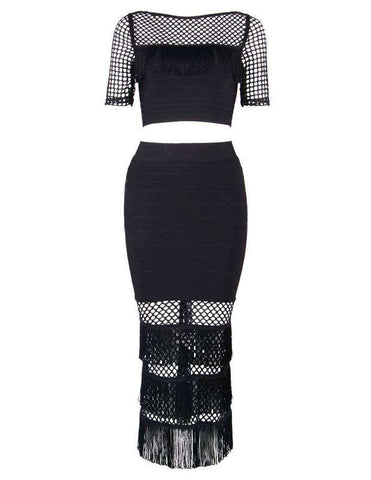 Bodycon Bandage Two Pieces Dress Black