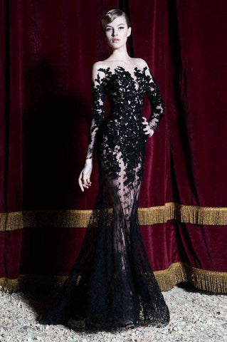 Boat Neck Mermaid Lace Applique Sexy Long Prom Party Gown Black