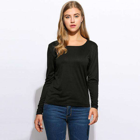 FANALA Women T shirt O-Neck Long Sleeve Black Letter Printed Casual