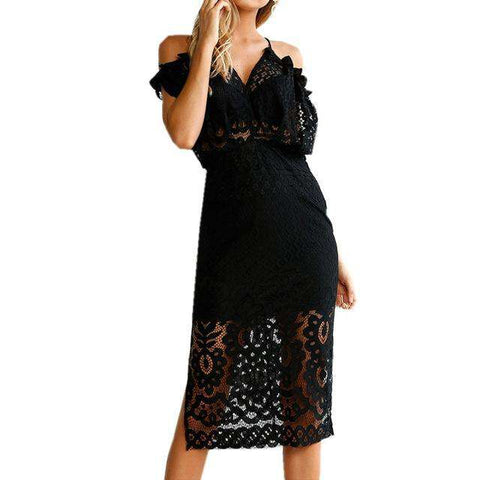 V Neck Off Shoulder Ruffled Bodycon Midi Hollow Out Lace Floral Split Dress Black
