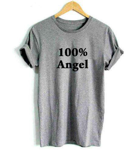 100% Angel Printed Casual T-Shirt White Women