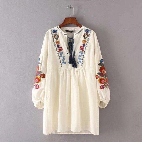 Embroidery Floral Lace Up Straight Vintage Ethnic Dress White