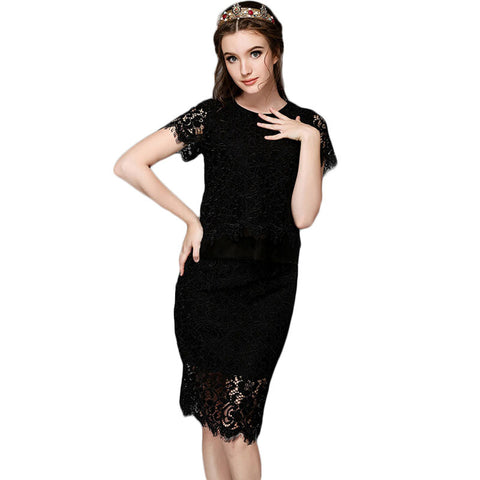 Two Piece Lace Patchwork Fitting Dress Black