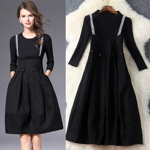 Two Piece O-Neck Knitted Top High Waist Spaghetti Strap Swing Dress Black