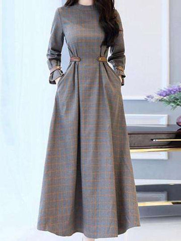 Gray Plaid High Waist Pockets Maxi Dress