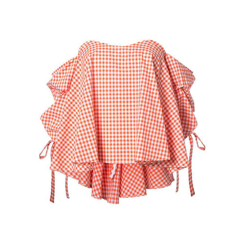 Orange Striped Plaid Cotton Day Top