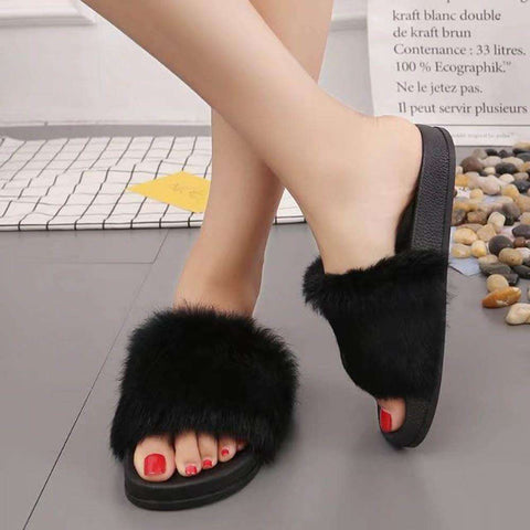 Breathable and Lightweight Fluffy Rabbit Casual Fur Slipper