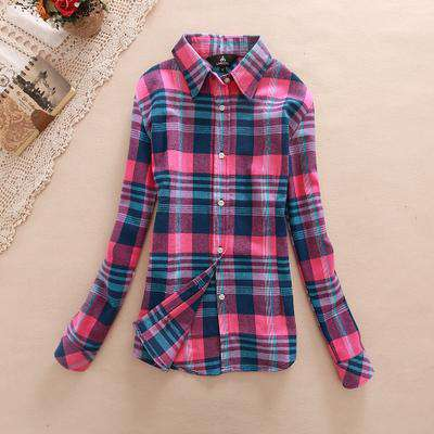 Long Sleeve Cotton Plaid Women's Shirts