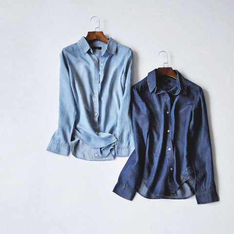 Long Sleeve Classic Destructed Lyocell Denim Shirt