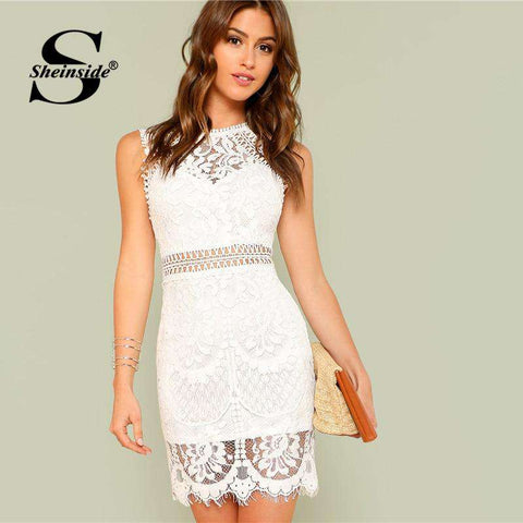 Hollow Out Insert Lace Bodycon Sleeveless Dress Women