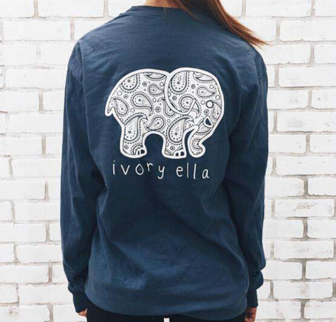 Cute Elephant Animal Pattern Print Pockets Long Sleeve Top