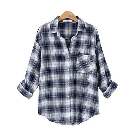 Plaid Checks Flannel Long Sleeve Cotton Turn Down Collar Shirt
