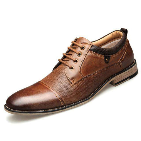 100% Genuine Leather Men Oxford Lace-Up Dress Shoes