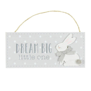 Petit Cheri Dream Big Little One Rabbit Hanging Plaque