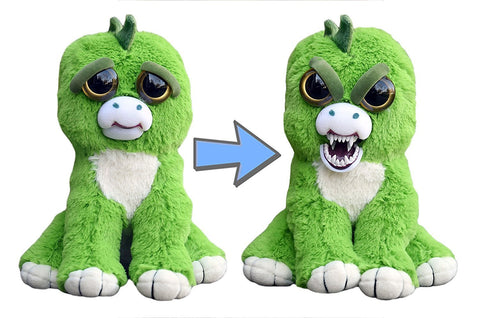 "Feisty Pets by William Mark- Extinct Eddie- Adorable 8.5"" Plush Stuffed Dinosaur That Turns Feisty With a Squeeze!"