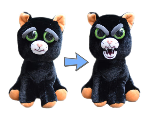 "Feisty Pets by William Mark- Katy Cobweb- Adorable 8.5"" Plush Stuffed Halloween Cat That Turns Feisty With a Squeeze!"