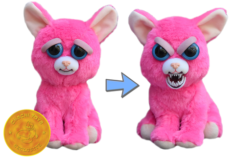 "Feisty Pets by William Mark- Lady Monstertruck- Adorable 8.5"" Plush Stuffed Neon Pink Cat That Turns Feisty With a Squeeze!"