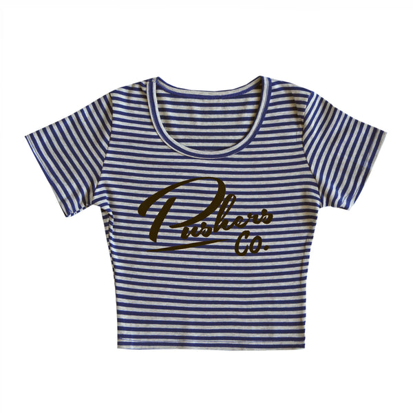 Pushers Striped Crop Top Blue/Grey
