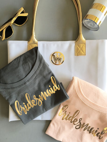 Gold Foil Bridesmaid shirts - Atlanta Monogram