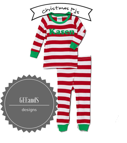 Personalized Christmas Pajamas-Red and White Striped Christmas pjs PREORDER