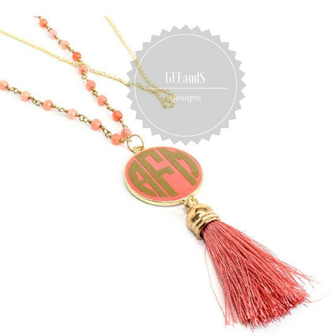 Monogrammed Tassel bead necklace- Bridal Jewelry, Sorority Big Little Sister, monogrammed jewelry
