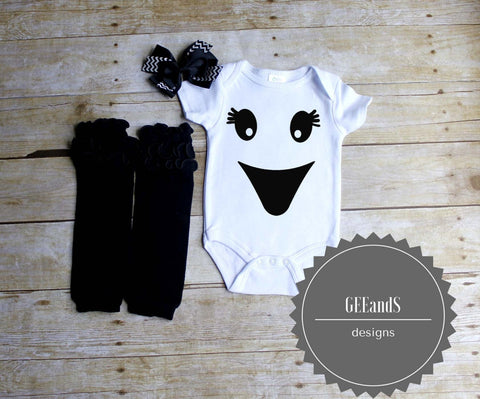 Girly ghost face shirt, leg warmers, and hair bow set