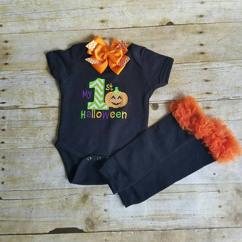My first Halloween infant bodysuit, bow, and leg warmers- baby clothing set