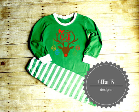 Personalized Pajamas- Christmas Pajamas Green and white stripe - Atlanta Monogram