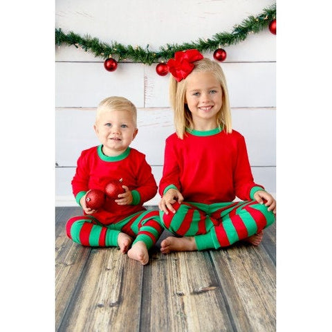 Personalized Christmas Pajamas-Red and Green Striped Christmas pjs PRE ORDER