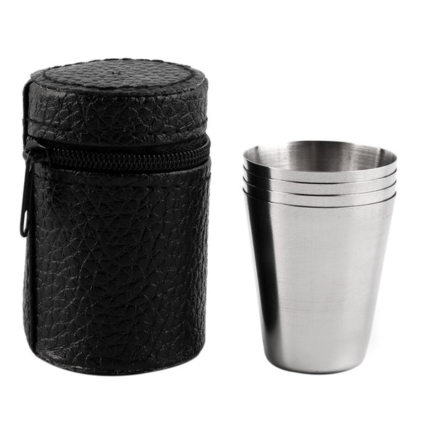 1 Set of 4 Stainless Steel 30ML, 70ML, 180ML Camping Cup Mug Drinking Coffee Tea With Case