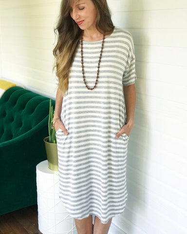 Grey and white stripe T-shirt dress