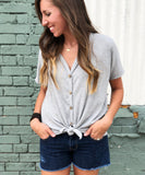 Front Tie Waffle Top - Aunt Lillie Bells