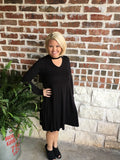 Black Swing Dress with Choker Neck - Aunt Lillie Bells