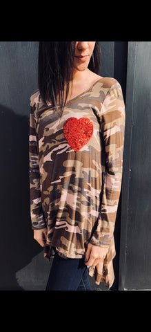 Camo & Heart T-Shirt - Aunt Lillie Bells