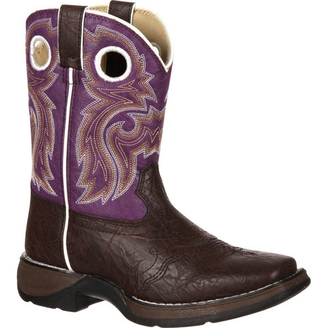 Durango Little Kids' Dark Brown/Purple Western Boot