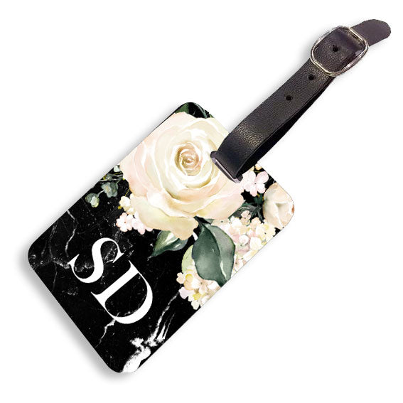 Black Marble Floral Luggage tag