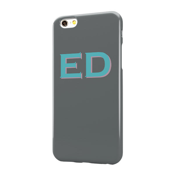 Grey Case with Cyan Pink Top Initials