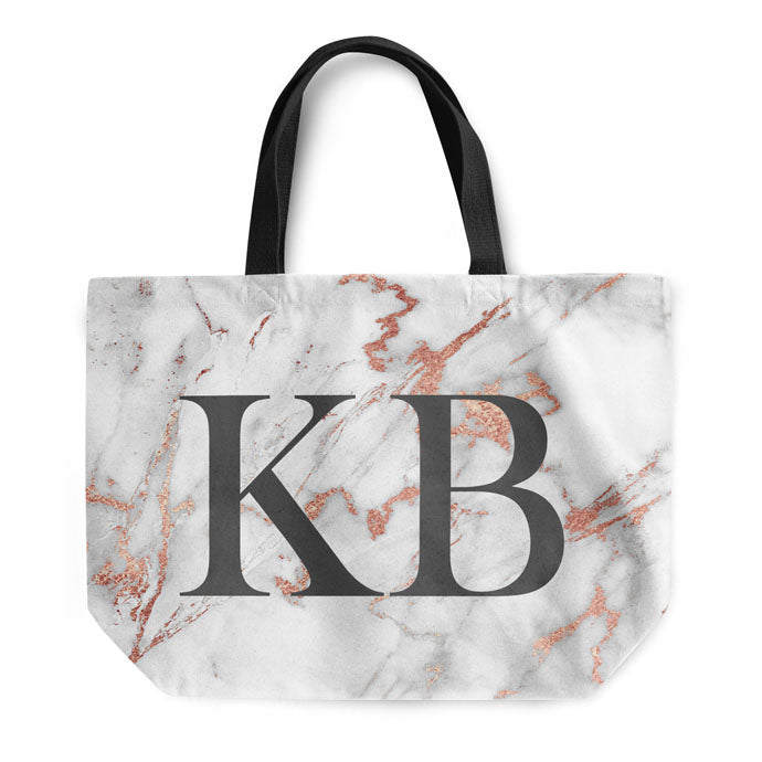 Grey Rose Marble Large Initials Tote