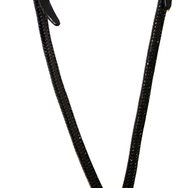 Black Leather Breast Collar with Weaved Trim