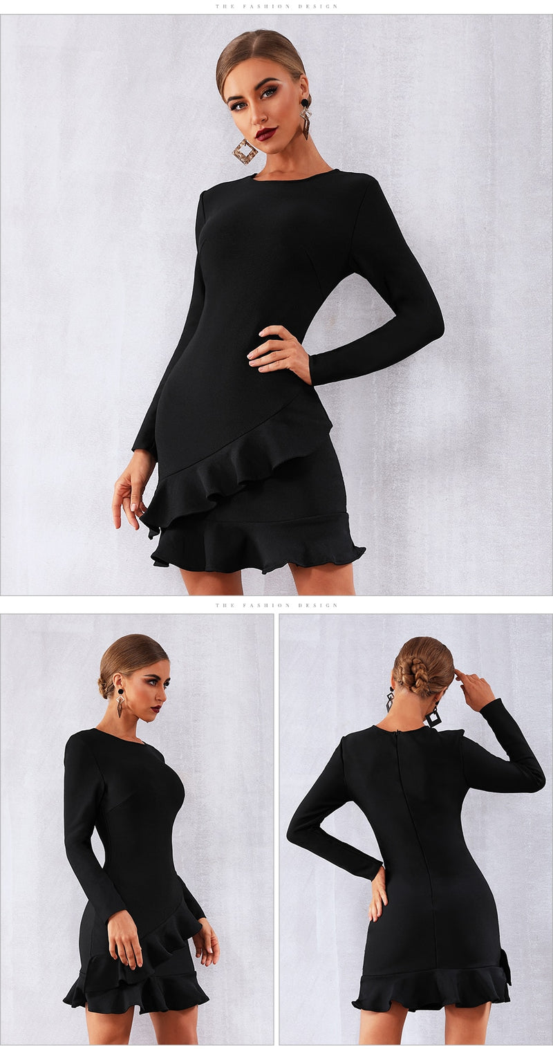 BLACK RUFFLE DRESS - Revossa